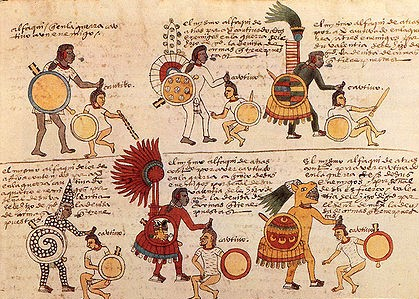 Aztec warriors gain rank as they take captives, seizing them by the hair.them by the hair.