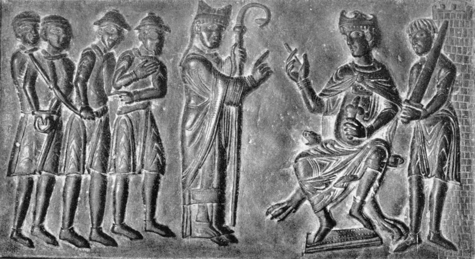 Twelfth-century bronze doors depict St. Adalbert of Prague (c.956-997) pleading with Duke Boleslav II of Bohemia to release Christian slaves belonging to Jewish masters.