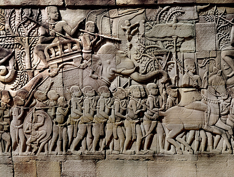 Relief depicting war captives or slaves led by ropes around their necks