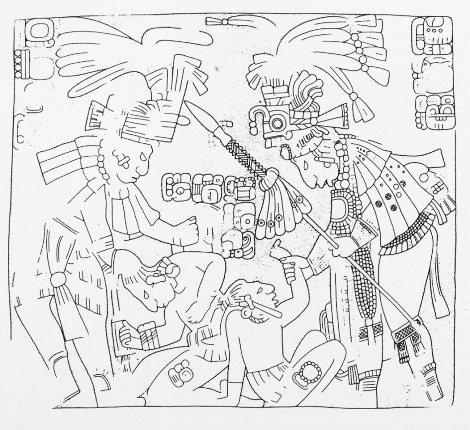 On the right, Bird Jaguar IV, Mayan ruler of Yaxchilan, grasps the wrist of Jeweled Skull and takes him captive. On the left, a Mayan noble K'an Tok Wayib grasps the hair and rope bindings of Kok Te' Ajaw and takes him captive.