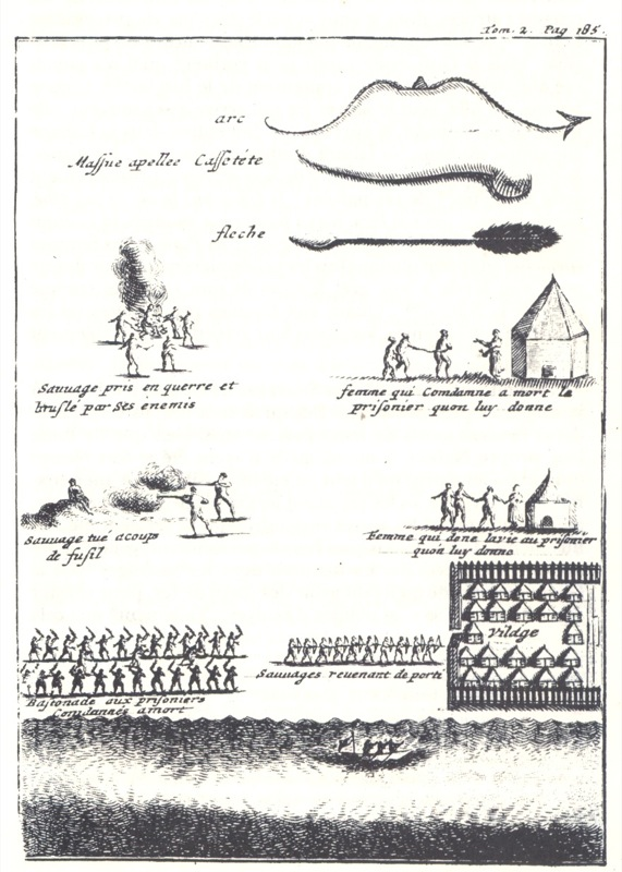 An Iroquois war party returning to the village with captives.