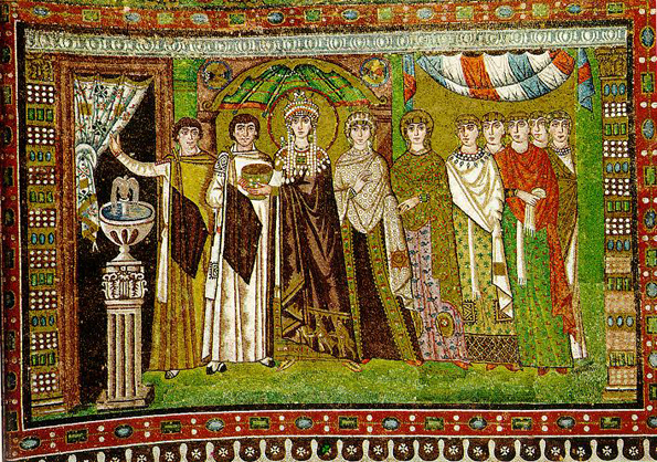 The Byzantine empress Theodora, wife of Justinian, attended on the right by noblewomen and on the left by eunuchs.