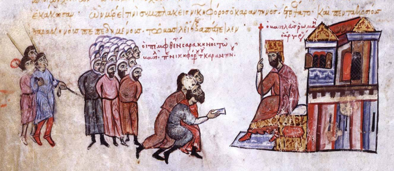 Arab captives taken in a naval battle are brought before the Byzantine emperor Romanos III Argyros.