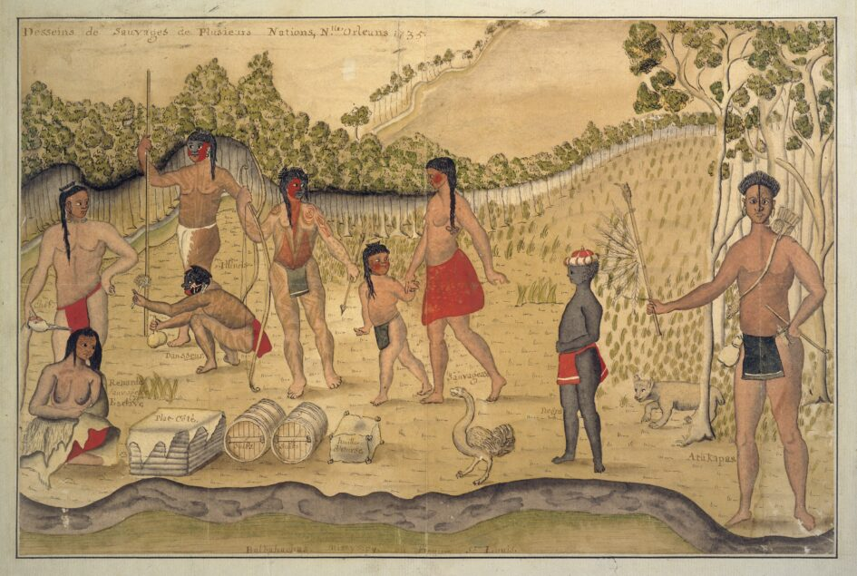 A party of Illinois Indians visiting Lower Louisiana. The seated woman depicted in the lower left corner is a slave.