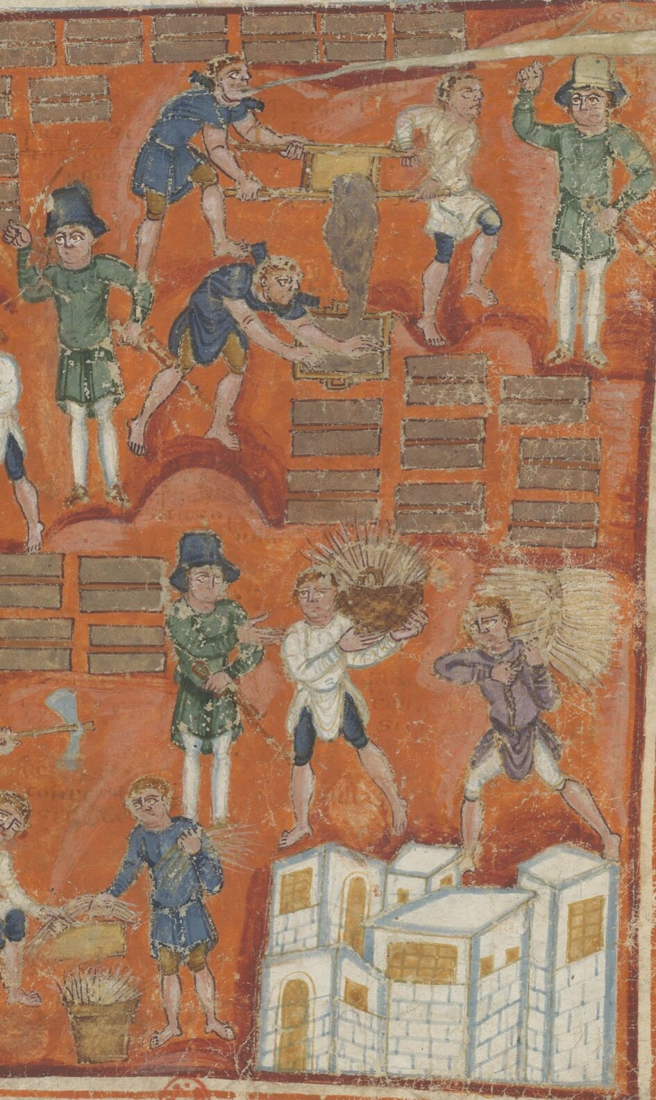 Enslaved Israelites make bricks of clay and straw under the direction of overseers armed with swords and whips.