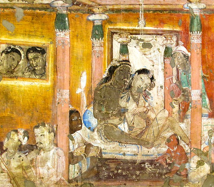 Nanda, the Buddha's half-brother, drinking wine and enjoying himself with a woman in the palace before his conversion. The pair are attended by three servants whose status is unclear. The upper right figure probably represents a Central Asian man.
