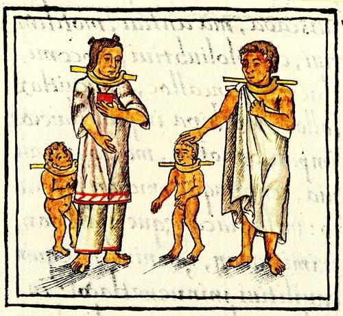 Aztec slaves wearing wooden collars.