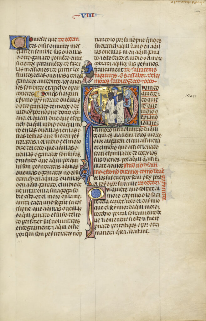 Initial Q: Two Soldiers Leading Two Slaves before a King, from the Vidal Mayor (Fueros de Aragón), about 1290–1310.