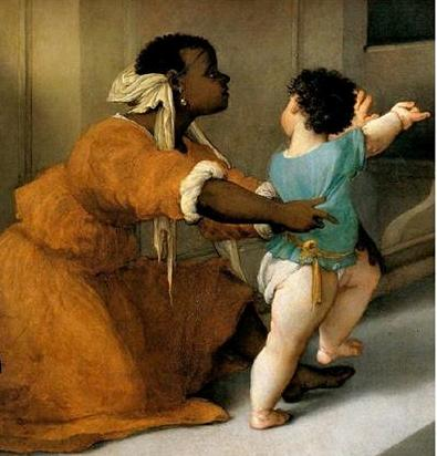 A slave prevents a young child from running in front of the judge who is interrogating St. Lucy.